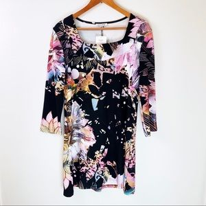 Adore Tunic Dress Abstract Bright Floral Print